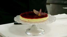Cheesecake e pere rosse